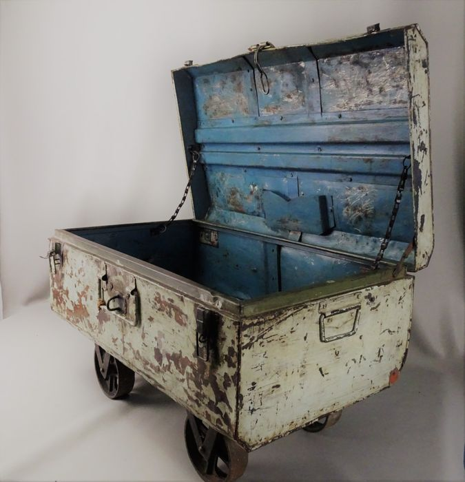 Industrial Vintage Metal Storage Chest On Wheels, First Half Of The 20th  Century,