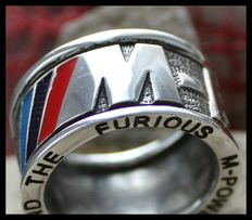 Awesome Unique BMW M Power Motorsport Sterling Silver 925  Ring signet band stamped massive Handmade 21st century