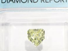 Certified Heptagonal Modified Step-Cut diamond 0.67 ct, Natural Fancy Yellow – SI1