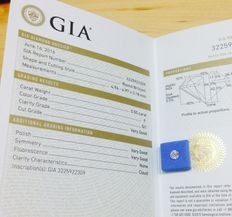 GIA 0.50ct natural round brilliant diamond. F colour, SI1 clarity. Certified by GIA June 16, 2016