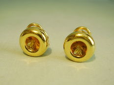 Solid gold earrrings with round facetted citrines together approx. 2.5 ct.