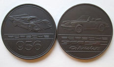 Bronze Porsche year coins 1983 and 1984 - Porsche 911SC and 956
