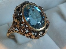Ring with aquamarine and diamonds, circa 19th century.