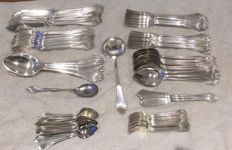 "Heavily silver plated 84-pieced Dutch Art Deco cutlery - Gero 604 ""Palmet"" i.a. 12 person fish cutlery, ""M Gero 90 GZ"" ca. 1923 - 1927 and Gero Silver glass numbers 1 t/m 12"