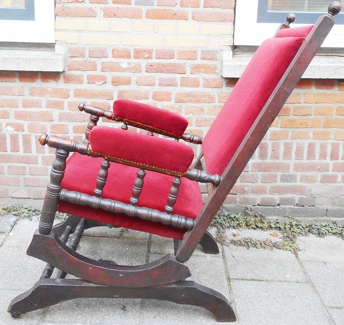 Antique Rocking Chair With Red Velvet Ca 1870 Catawiki