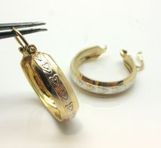 Creole earrings - 18 kt yellow gold with 18 kt white gold inserts
