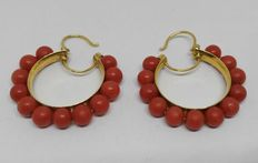 Women's yellow gold earrings with coral beads