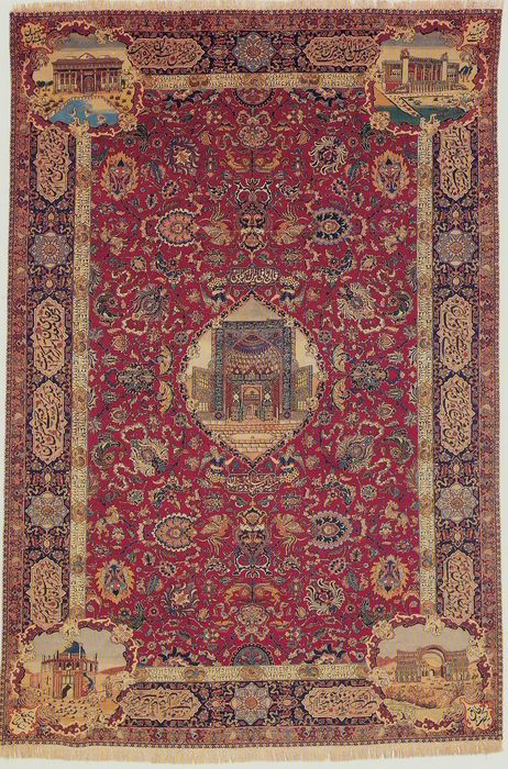Tabriz Persian antique carpet measuring 345 x 230 cm.