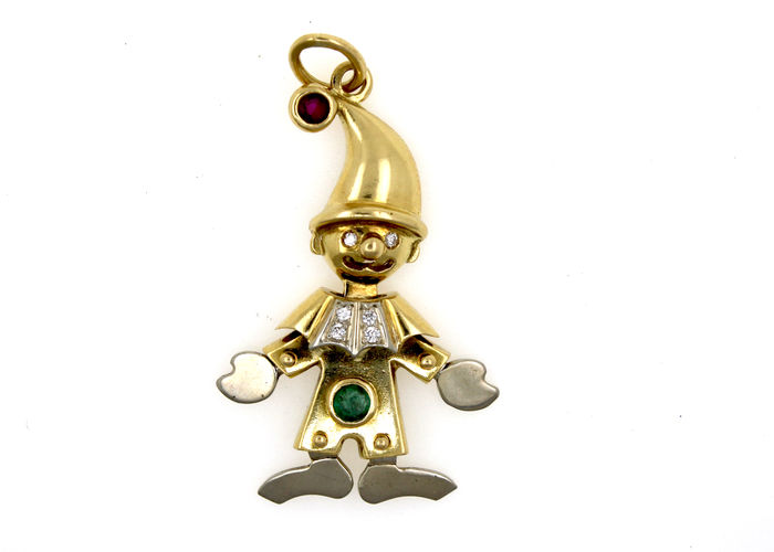 18 kt yellow and white gold pendant clown with a total of 0.12 ct diamonds, ruby and emerald - length: approx. 40 mm