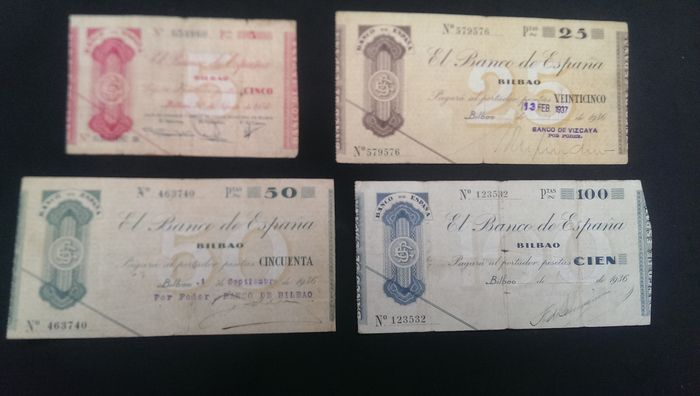 Spain - Series Bilbao 1936 Civil War - 369, 371, 372 and 373 Fuster - S552, S553, Pick S551a and S554