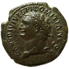 Roman Empire – Domitian Caesar, As, Rome, Minerva, 69-81 CE