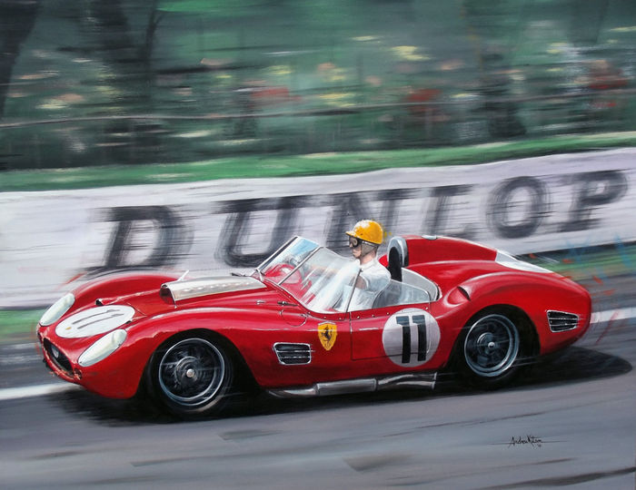 Andrew KItson PAinting Paul Frere Ferrari Testa Rossa winning the Le Mans 24hours in 1960