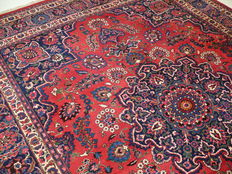Exclusive Mashad 3.84 x 3.07, red new wool on cotton, oriental carpet, 384 x 207 cm, TOP CONDITION