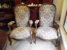 pair of mahogany voltaires ,(armchairs), French, circa 1900