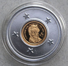 Solomon Islands - 5 Dollars 2010 'Alexander von Humboldt 1769-1859' - gold