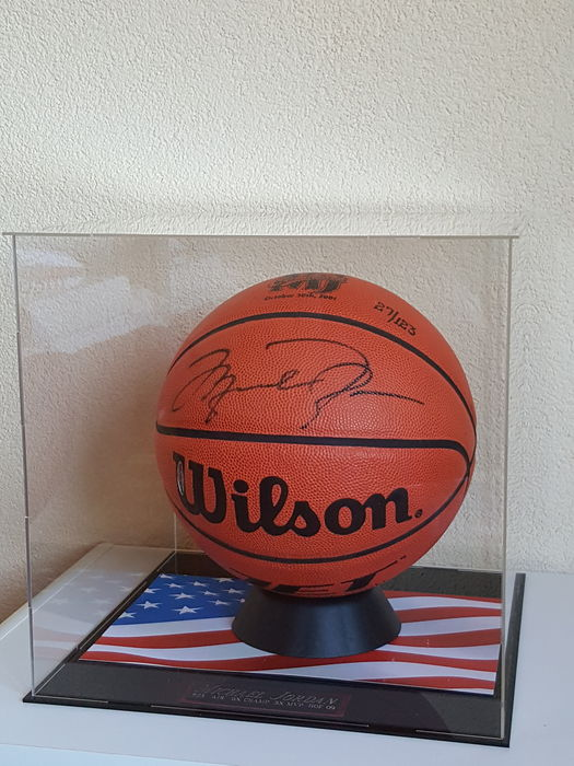 b0a0fe6d440 Michael Jordan - original hand-signed authentic Basketball in showcase  display with luxury name plaque