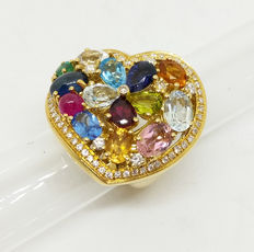 'Tutti Frutti' Heart-shaped Ring – 18 kt (750‰) – Italian size: 11.5 (51.5) – Precious stones of various sizes (5.85 ct) – Round brilliant cut diamonds (0.80 ct)