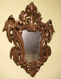 Antique mirror in carved wood cornucopia, end of 19th century