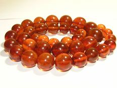 Antique natural amber beads necklace