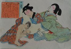 Erotic woodcut, Shunga, Tomioka Eisen – Japan – 1890