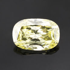 0.85 ct cushion cut diamond, Fancy Intense Yellow natural colour VVS2 **LOW RESERVE PRICE**