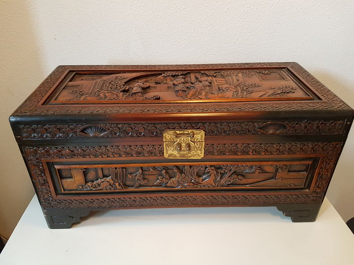 Camphor Wooden Storage Case   Chinese Carving   Indonesia