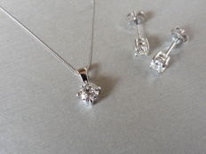 Platinum Diamond Pendant, 0.25ct, and Earring Set, 0.50ct