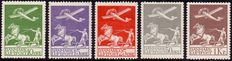 Denmark 1925/1929 - Airmail stamps - Facit 213/217