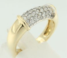 14 kt yellow gold ring set with 59 brilliant cut diamonds, 0.75 carat, ring size 17.5 (55)
