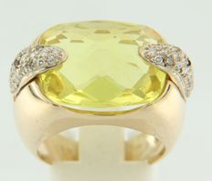 18k yellow gold ring set with a yellow citrine and brilliant cut diamonds, ring size 17.5 (55)