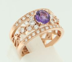 14 kt rose gold ring set with purple amethyst and brilliant cut diamonds, ring size 17 (53)