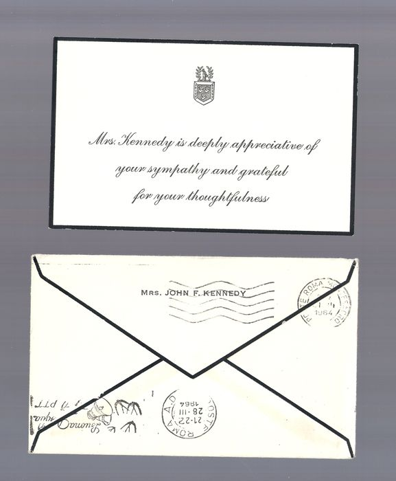 thank you note in response to a condolence card signature of jacqueline kennedy 1964