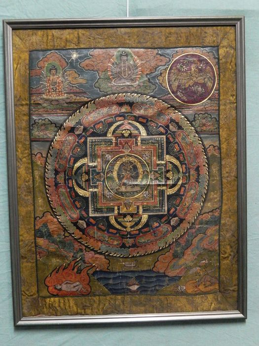 Beautiful Antique Century Furniture Dining Room Table And: Beautiful Antique Thangka With Mandala