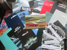 Car brochures (Nissan/Datsun, including Cherry/Sunny/Laurel/Bluebird, 17 brochures/5 press pictures, 1979-1993)