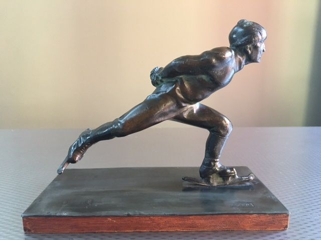 H uher bronze art deco image of a skater catawiki