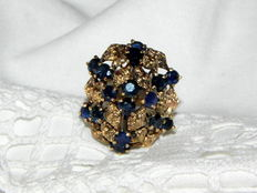 XXL women's cocktail ring with sapphire 585 14 kt gold