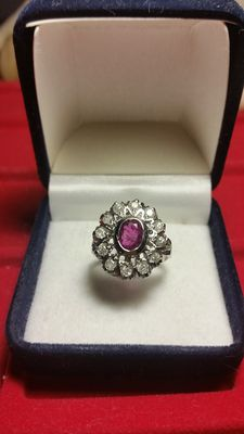 Wonderful white gold ring set with diamonds and a large 2 ct ruby