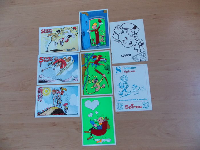 Jije and Franquin - cards Spirou sportif (3x) - cards Flock Indus (3x) - blotter (2x) (1943/1967)