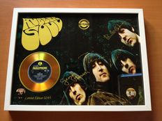 "The Beatles Gold Plated CD Display ""Rubber Soul""  -  Including  4 Signatures & 2 Beatles Plectrums"