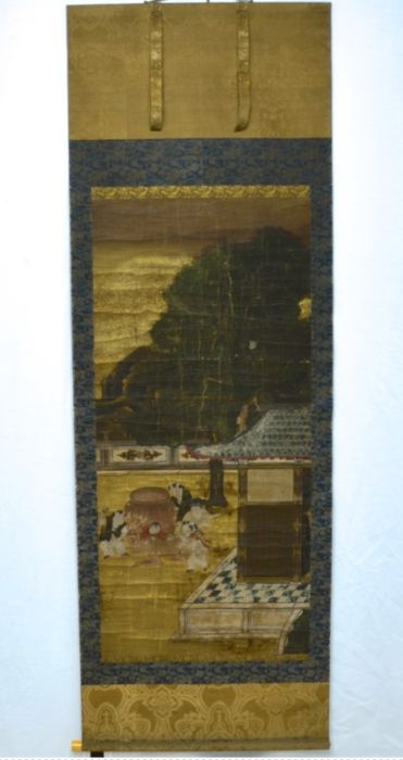 Large scroll painting of the Shiba Onko story, in the manner of Kano Eitoku (1543-1590) - Japan -  Edo Period