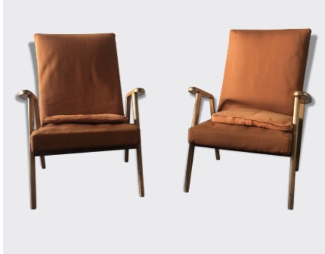 paire de fauteuil orange type scandinave catawiki. Black Bedroom Furniture Sets. Home Design Ideas