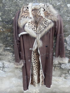 Lederer Genuine, Luxurious Long Coat Real Rabbit Leather