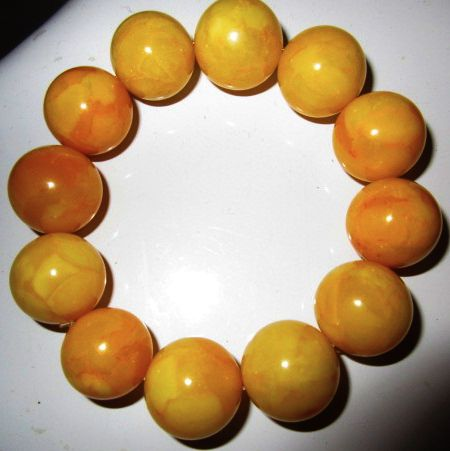 Baltic Amber Butterscotch bracelet, round yellow beads, with certificate, 47 grams