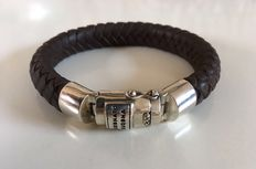 Buddha 2 Buddha leather bracelet with silver clasp - length 22 cm