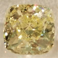 Square cushion cut diamond of 0.91 ct with natural yellow colour – VVS2