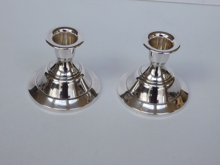 Set silver candle stands, Fa. Burger & zoon, Haarlem, ca. 1960
