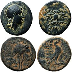 Greek Antiquity - Lot of 2 AE coins: 1- MYSIA. Pergamon. Ae (2nd-1st century BC). 2- SELEUKID KINGDOM. Antiochos IV. Theos Epiphanes, 175 - 164 BC.