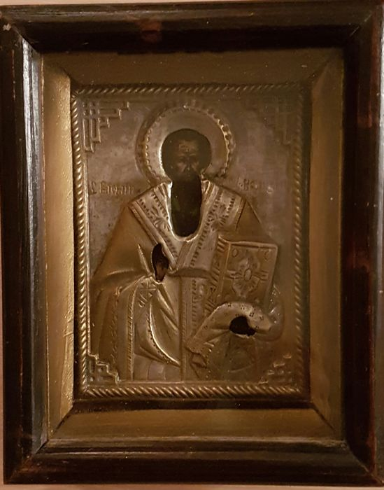 Icon with image of the holy Basil of Caesarea (329-378) - late 19th century early 20th