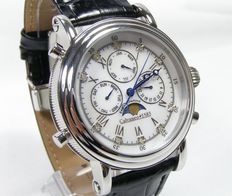 "CALVANEO 1583 model ""Estemia mother-of-pearl diamond"" calendar - moon phase -- men's wristwatch NEW"