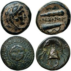 Greek Antiquity - Lot of 2, Macedonian Kingdom. Alexander III the Great. 336-323 B.C. AE
